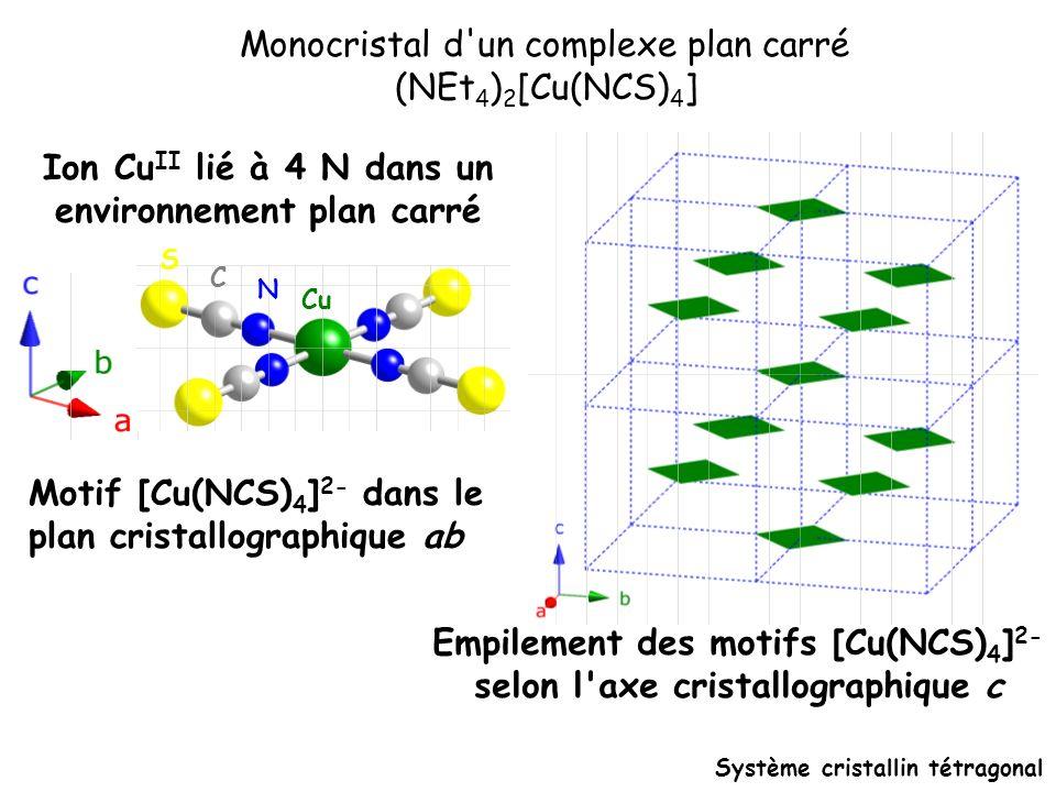 Monocristal d un complexe plan carré (NEt4)2[Cu(NCS)4]
